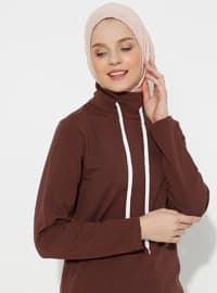 Brown - Polo neck -  - Tunic