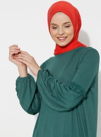Green - Crew neck - Viscose - Tunic