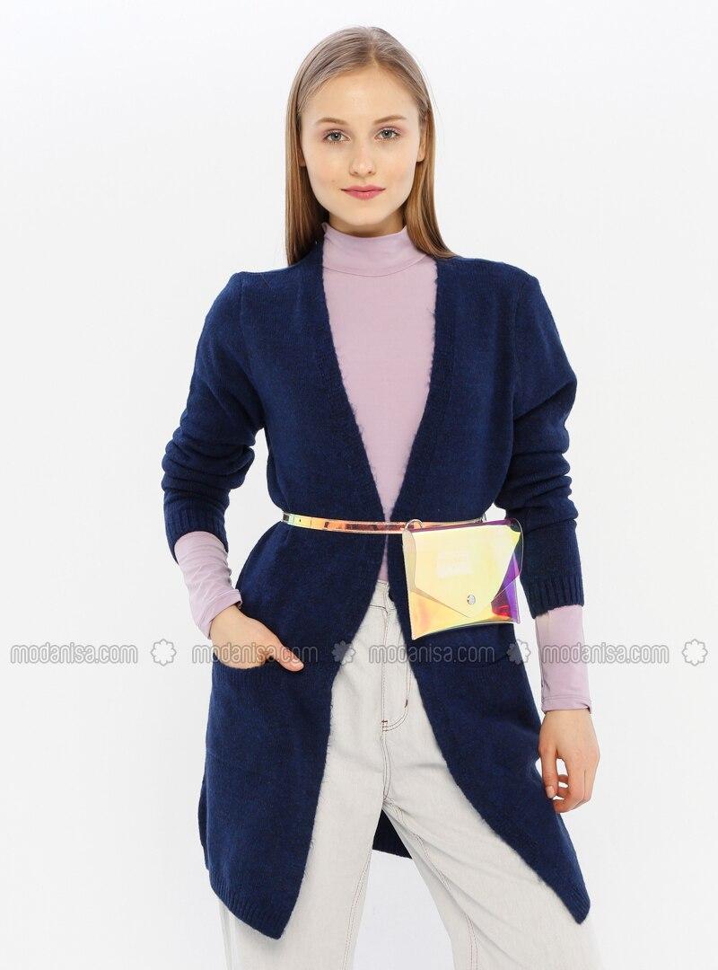 Navy Blue - Acrylic -  - Knit Cardigans