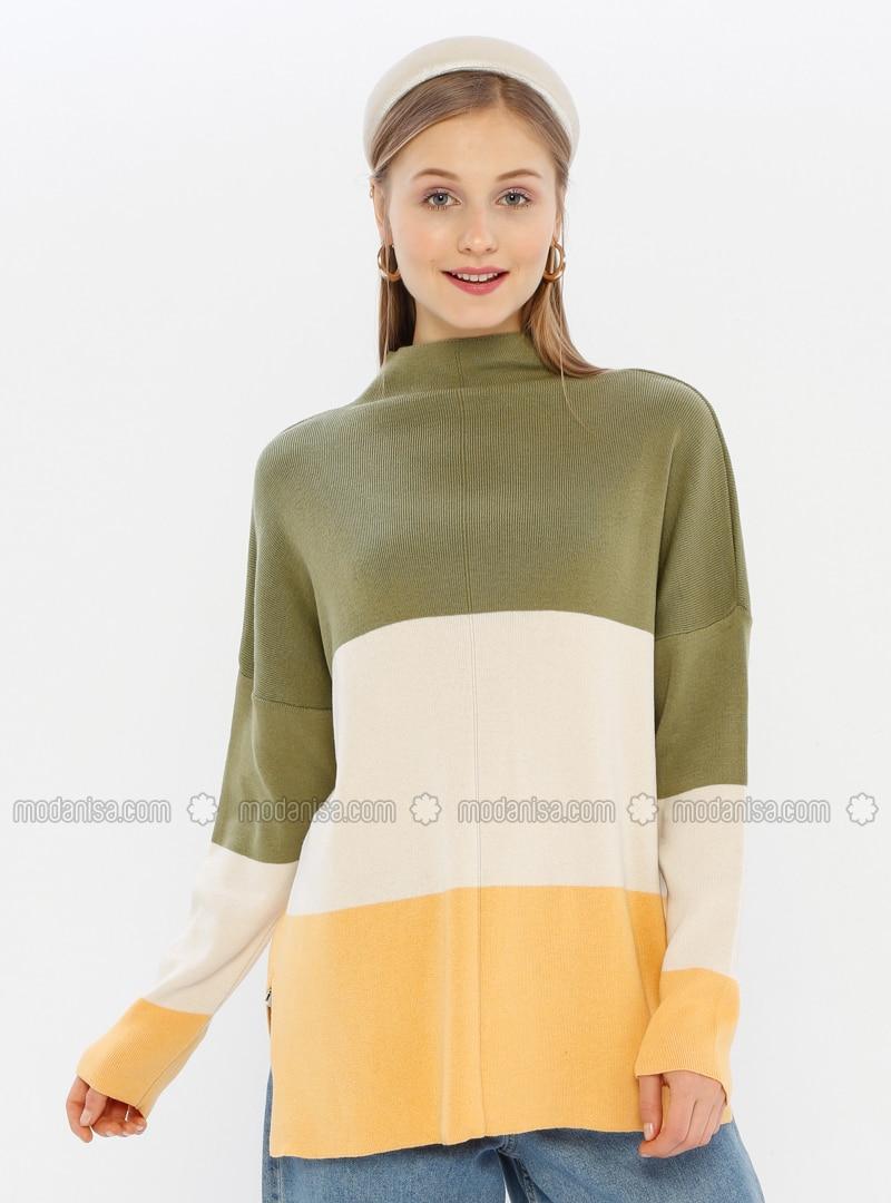 Khaki - Unlined - Polo neck - Acrylic -  -  - Knit Sweaters