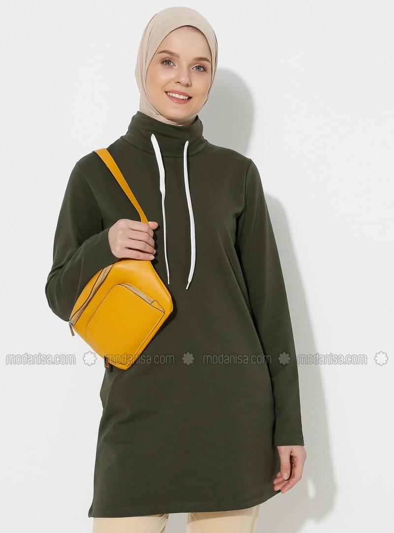 Khaki - Polo neck -  - Tunic