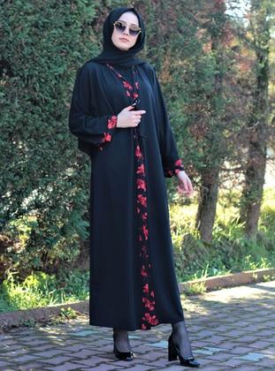 Black - Floral - Unlined - Abaya