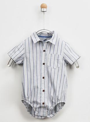 Stripe - Point Collar - - Blue - Boys` Shirt - Panço