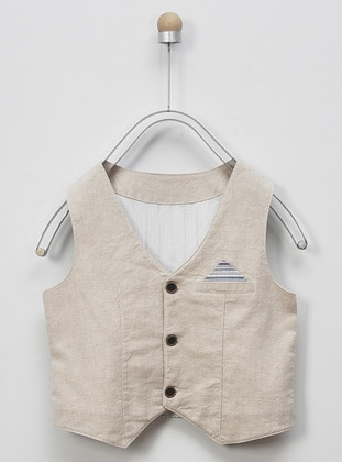 V neck Collar - Linen - - Beige - Boys` Vest - Panço