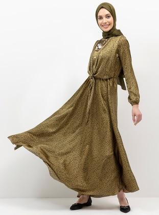 Black - Green - Leopard - Unlined - Crew neck - Muslim Evening Dress