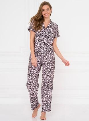 Pink - Shawl Collar - Leopard - Viscose - Pyjama Set