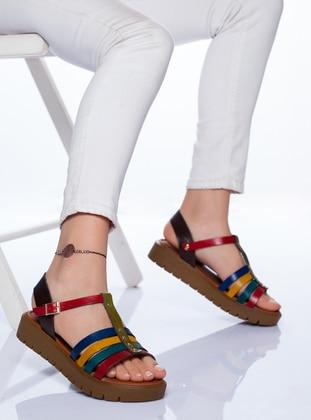 Maroon - Brown - Sandal - Sandal - Ayakkabı Frekansı