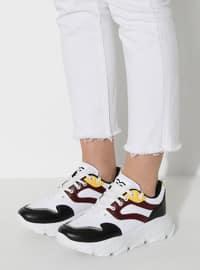 White - Maroon - Black - Sport - Sports Shoes