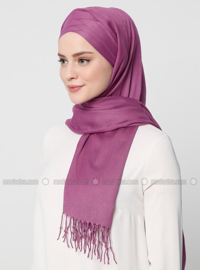 Purple - Plain -  - Instant Scarf