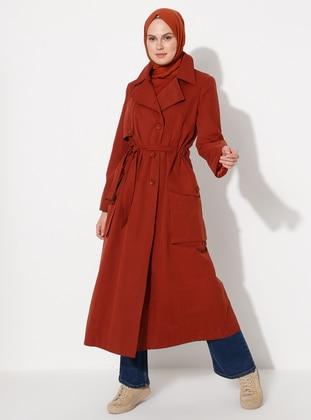 Terra Cotta - Unlined - V neck Collar - Trench Coat