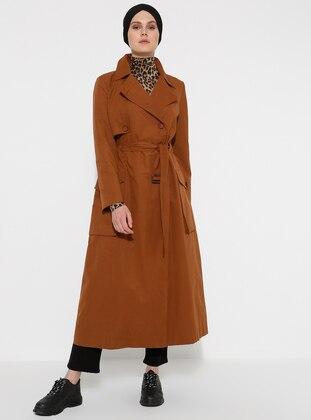 Tan - Unlined - V neck Collar - Trench Coat