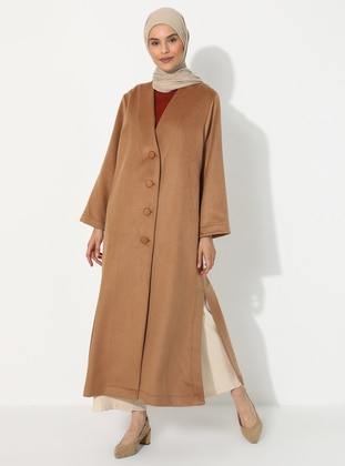 Camel - Unlined - V neck Collar - Topcoat