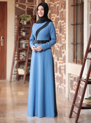 Blue - Crew neck - Unlined - Crepe - Dress