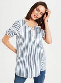 Navy Blue - Maternity Blouses Shirts