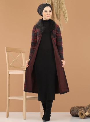 Maroon - Plaid - Unlined - Point Collar - Topcoat