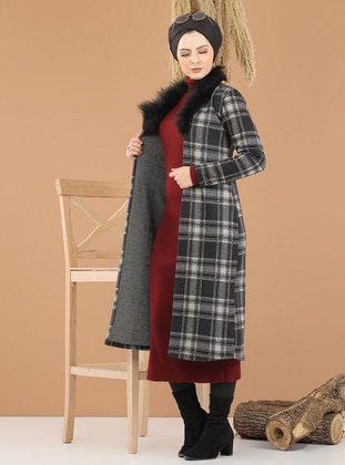 Gray - Plaid - Unlined - Point Collar - Topcoat