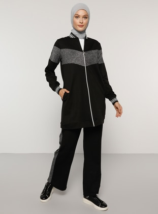 Black -  - Polo neck - Tracksuit Set