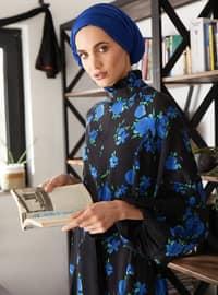 Blue - Floral - Crew neck - Unlined - Viscose - Dress