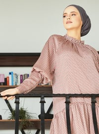 Pink - Multi - Crew neck - Unlined - Viscose - Dress