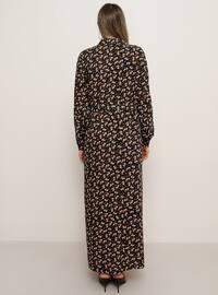 Black - Floral - Unlined - Point Collar - Viscose - Plus Size Dress