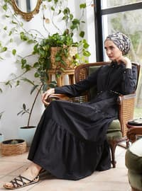 Gold - Black - Point Collar - Unlined -  - Dress