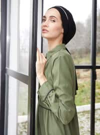 Green - Point Collar - Unlined -  - Dress