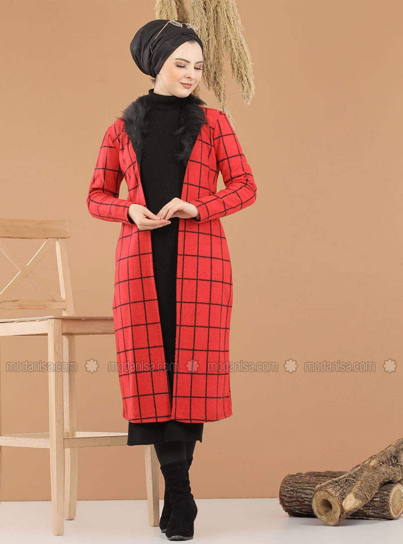 Red - Checkered - Unlined - Point Collar - Topcoat