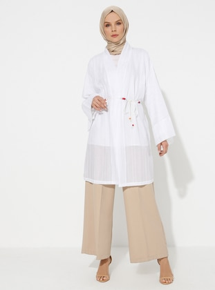 White - Unlined - Shawl Collar -  - Abaya