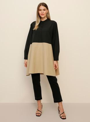 Black - Mink - Crew neck -  - Plus Size Tunic - Alia