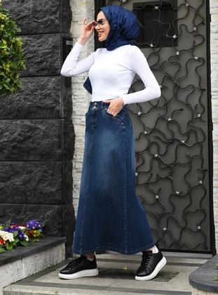 Navy Blue - Blue - Unlined - Denim -  - Skirt