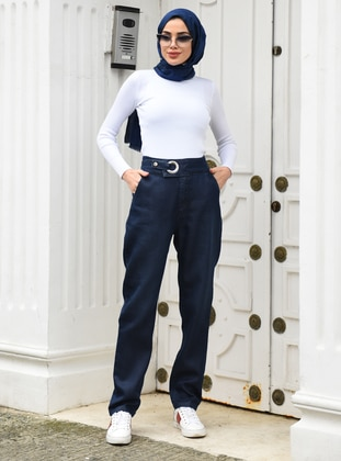 Navy Blue - Blue - Denim - Modal -  - Pants