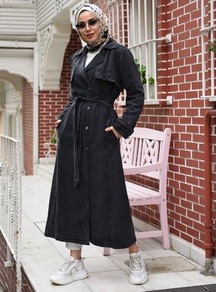 Black - Unlined - V neck Collar - Denim -  - Trench Coat