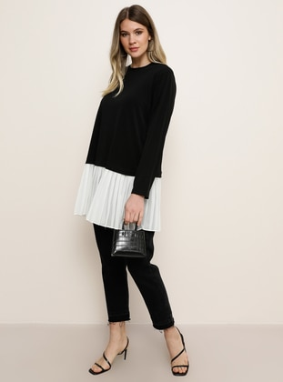 White - Ecru - Black - Crew neck - Plus Size Tunic - Alia