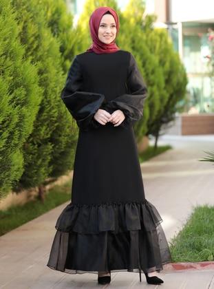 Black - Crew neck - Unlined - Crepe - Dress