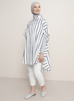 Navy Blue - Stripe - Point Collar - Tunic