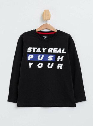 Black - Boys` T-Shirt - DeFacto