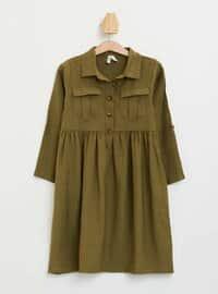 Khaki - Girls` Dress