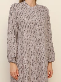 Lilac - Floral - Unlined - Crew neck - Viscose - Plus Size Dress