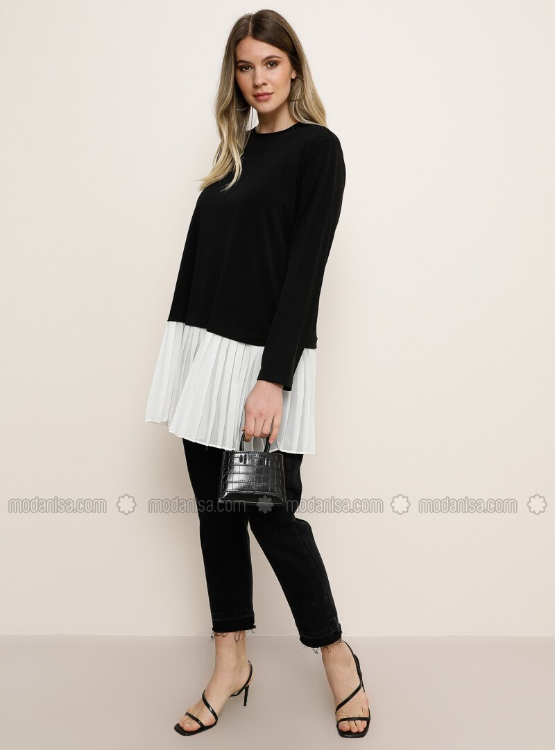 White - Ecru - Black - Crew neck - Plus Size Tunic
