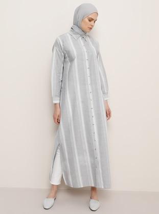 Gray - Stripe - Point Collar - Unlined -  - Dress
