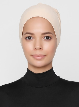 Beige - Lace up - Non-slip undercap - Combed Cotton - Bonnet