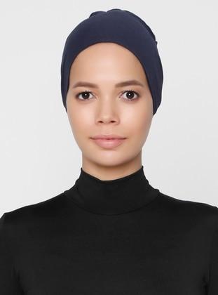 Navy Blue - Lace up - Non-slip undercap - Combed Cotton - Bonnet