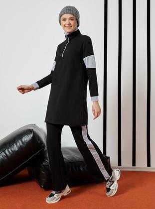 Black -  - Polo neck - Tracksuit Set