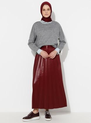 Maroon - Unlined - Viscose - Skirt