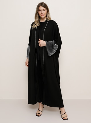Black - Unlined - Plus Size Abaya