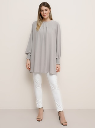 Gray - Crew neck - Plus Size Tunic - Alia