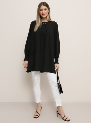 Black - Crew neck - Plus Size Tunic - Alia