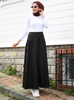 Black - Unlined - Denim -  Lyocell - Skirt