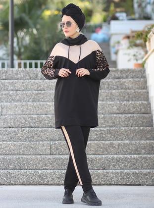 Black - Leopard - Unlined - Acrylic -  - Suit - Por La Cara