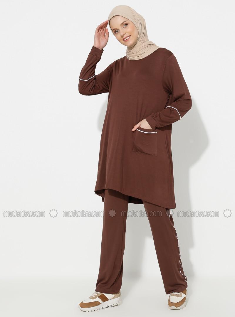 Brown - Viscose - Crew neck - Tracksuit Set